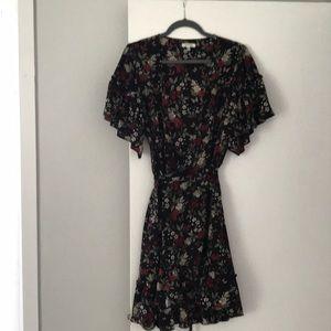 Black floral dress with waist tie